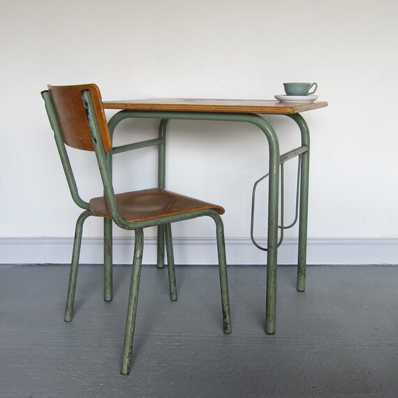 School Desk Chair Industrial Mid Century Vintage Modernist 1950s French