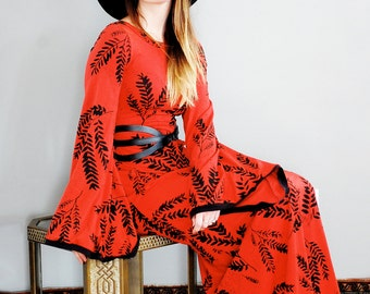 Keen Alchemist Dress || In Cherry, American Milled Fabric, printed maxi dress, bohemian maxi, bell sleeves, boho maxi dress || by Simka Sol®