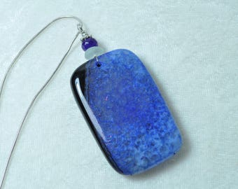 Beautiful Blue Black Geode Onyx Agate Pendant Necklace with Seafoam Genuine Sea Glass & Faceted Amethyst Gemstone Bead Free Shipping B270
