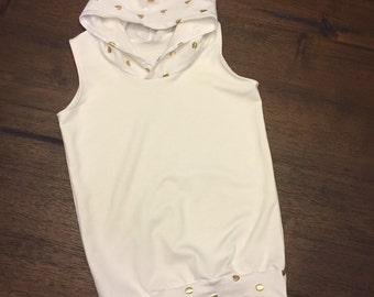ivory and gold sleeveless hoodie
