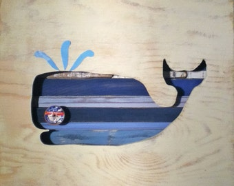 Reclaimed Wood Art -  Queequeg - Whale