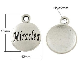Word Charms Pendants Miracles Charms Silver Word Charms-10pcs