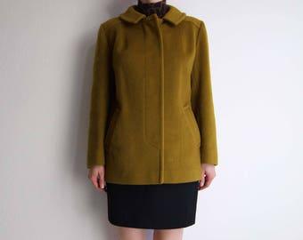 VINTAGE Pendleton Coat 1970s Olive Wool Short Womens Small