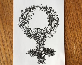 Female Sign Floral Sticker