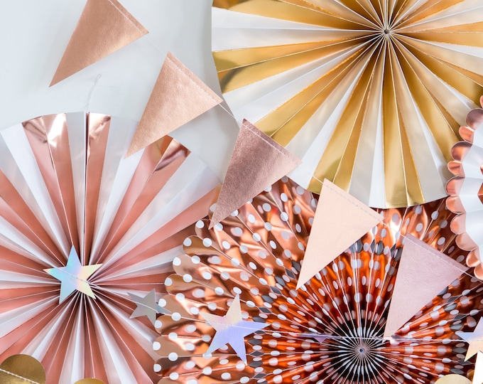 Rose Gold Pennant Garland, Rose Gold Foil Triangle  Banner, Rose Gold Birthday Banner, Rose Gold Baby Shower Bunting, Rose Gold Wedding