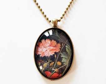 Dutch Masters 'Chysanthemum' detail, 30x40mm oval pendant in silver or antique bronze, includes complimentary chain