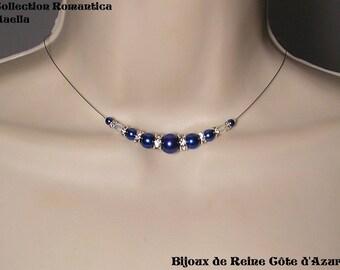 Crystal wedding necklace bridal rhinestone credit roy dark necklace, blue - Romantica Collection lily wedding, blue, Bridal wedding jewelry