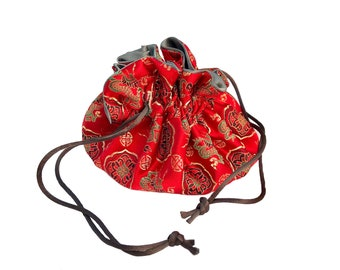 Draw String Jewelry Travel Pouch - Chinese Red Brocade Satin with Silver Grey Satin Lining
