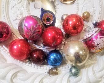 16 Vintage Mercury Glass Christmas Ornament Lot Stencil Indent Teardrop Feather!