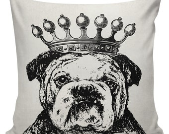 Novelty Pillow Cover Cotton Canvas Throw Pillow 18 inch square Bulldog with Crown #UE0291 Urban Elliott