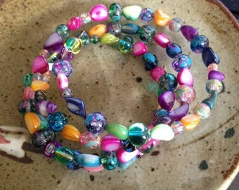Rainbow colored mother of pearl wrap around bracelet, one of a kind,
