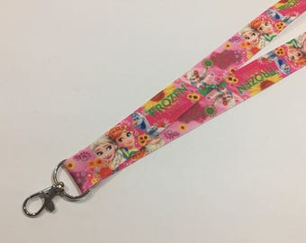 Pink Frozen Anna Elsa Olaf ID Lanyard with a Lobster Claw Clasp