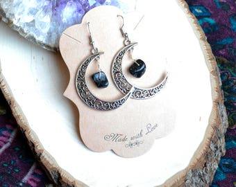 Moon Earrings - Moon Jewelry - Crescent Moon - Crescent Moon Earrings - Tourmaline Earrings - Crystal Healing - Crystal Earrings