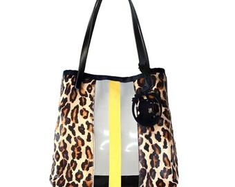 GEGE VIEW LEO PVC trim leopard maxi tote