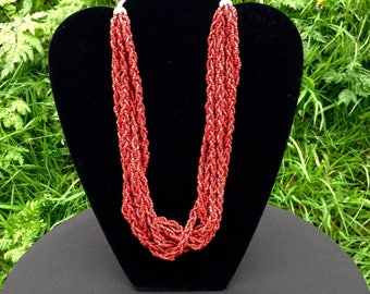 Necklace Coral Multi Strand Vintage Beaded Plaited Cord Genuine Red Coral