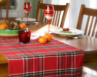 Tartan table runner, Plaid Tartan Red Christmas Table Runner  Limited Addition
