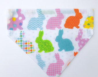 """Over the collar (slide on)  Pet Bandana -  Size MED/LARGE - """"Everybunny is a little different"""" bandana"""