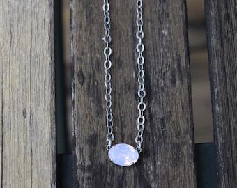 Swarovski Crystal Oval Stone Necklace - Rose Water Opal, 14x10 Oval, Crystal Necklace, Opal Necklace, Swarovski Necklace