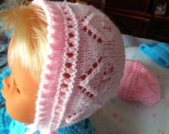 Hand knitted Hat baby newborn to 3 months well around the head -