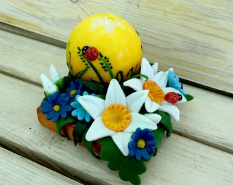 Gift for Mother's Day - Yellow candle - Narciccus flower - Carved Candles - Candles Set - Gift for Home - Gift Idea- Gift Idea- gift for Mom