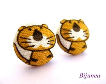 Animal Tiger earrings - Orange tiger stud earrings - Tiger studs - Cat tiger post earrings - animal jewelry earrings sf624
