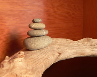 Gift idea, zen decor, driftwood, Driftwood and stone cairn, coastal decor, beach decor, Holiday gift idea, wedding gift idea
