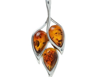 "Sterling Silver and Baltic Honey Amber Pendant ""Marisol"""