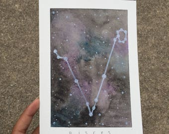 Original Watercolor Galaxy Zodiac Pisces Constellation Frameable Birthday Greeting Card