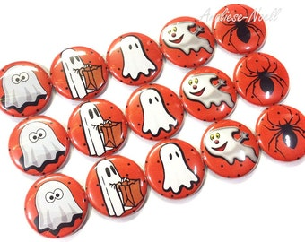 "Ghost Magnet, Halloween Ghost, 1"" Button Magnet, Halloween Button, Halloween Party Favor, Halloween Decoration, Ghost Magnet, Spider Magnet"