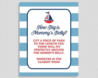 How Big is Mommy's Belly Shower Game Sign, Nautical Sailboat Baby Shower Sign, Little Sailor Shower Game, Baby Boy, INSTANT PRINTABLE