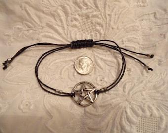 Vintage Pentagram Bracelet With Adjustable Cords Silver Finish Over Pewter