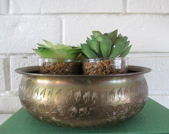 Vintage Brass Bowl with All Over Flower Etchings , Shelfie Decor Accessory