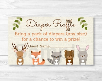 Woodland Forest Animal Diaper Raffle Tickets / Woodland Baby Shower / Fox Deer Bear Raccoon Rabbit / Printable INSTANT DOWNLOAD A187