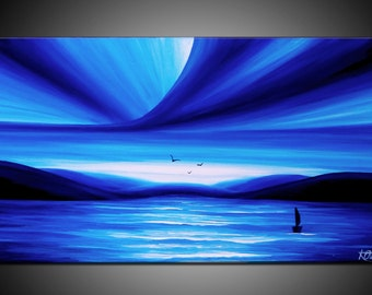 LARGE, Original, PAINTING on Canvas, landscape/Seascape, sunset, BLUE, Wall Art, Modern, Contemporary
