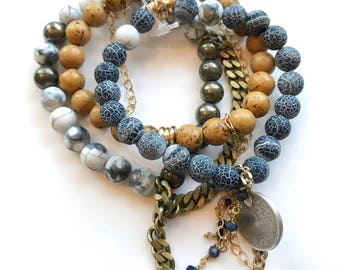Beaded Stackable Stacked Stretch Bracelets in Denim with Gold Filled Chains