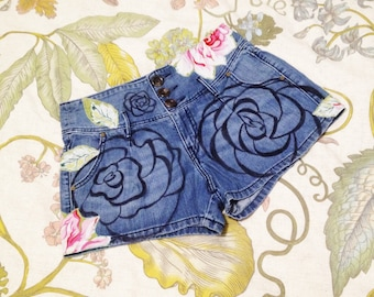 Hand painted and embelleshed rose jean shorts