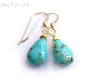 Sleeping Beauty Turquoise Earrings, Genuine Turquoise Jewelry, Southwestern Turquoise Teardrop Earrings Dangle Gold, December Birthstone,