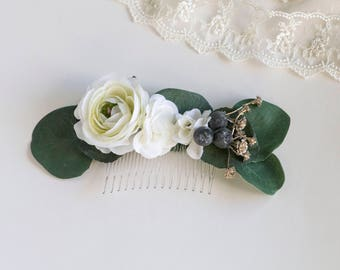 Blueberry Eucalyptus Comb. Silk Flower Comb. Wedding Comb