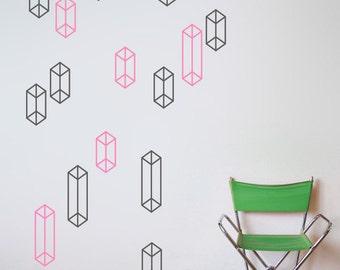 Geometric Shapes Pattern Wall Decal Home Decor, Geometric Patterns Vinyl Wall Stickers, Australian Made