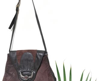 "Vintage Genuine Leather brown ""Wildlife"" shoulder bag"