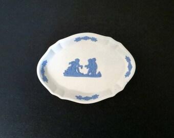 Wedgwood Rare Reverse Blue on White Jasperware Dish