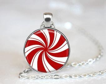 Christmas Necklace Christmas Jewelry Glass Tile Necklace Glass Tile Jewelry Holiday Necklace Holiday Jewelry Christmas Candy Brass Jewelry