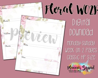 Floral Week on 2 Page (WO2P) Printable Inserts in Classic Happy Planner Size (Digital Download)