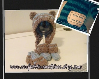 Knitting pattern for a baby hat/mitts and socks - PDF