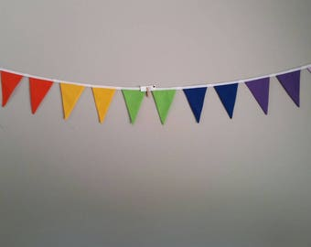 Fabric bunting flags bright rainbow