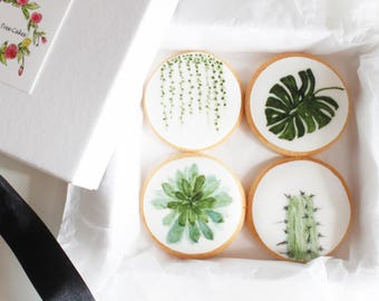 Botanical cookies, hand made sweets, gifts for weddings, favours, set of 8