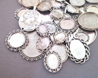 Assorted Silver Pendant Setting Grab Bag, Pick Your Amount, B219