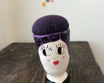Maude : Pin Cushion Lady Ceramic pin cushion unique pincushion