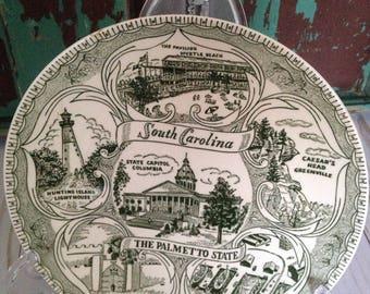 Vintage en Caroline du Sud Souvenir Plaque/le Palmetto State/Charleston/Myrtle Beach