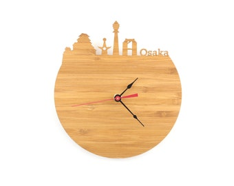 Osaka Skyline Clock - Cherry and Walnut Modern Wall Clock